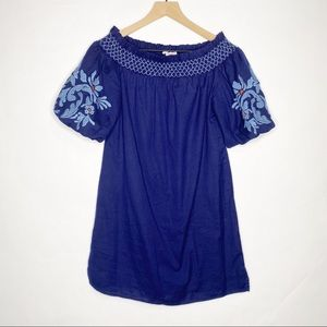 beachlunchlounge Blue Embroidered Sleeves Dress XS
